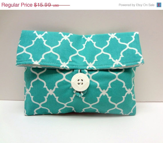 Свадьба - ON SALE Turquoise Makeup Bag Foldover Clutch Turquoise Wedding Bridesmaid Gift