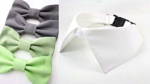 Mariage - Dog Shirt Collar with D Ring for Leash Mint Sage Slate Grey Bow Tie Set Ring Bearer Wedding Dog Collar
