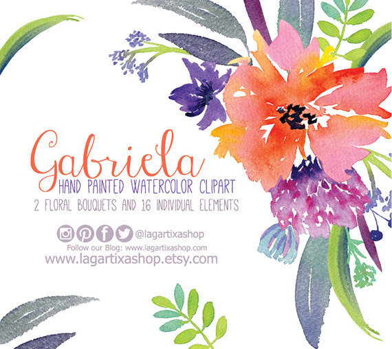 Свадьба - Watercolor clipart,  Floral PNG, wedding bouquet, arrangement, bouquet, frames, digital paper, blue flowers, bridal shower, for blog banner