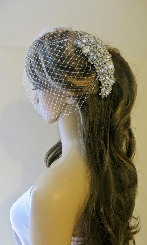 Mariage - Bridal Comb And Veil, Wedding Comb and Veil, Bridal Comb With Veil, Rhinestone Comb And Veil, White Bridal Veil, Ivory Bridal Veil