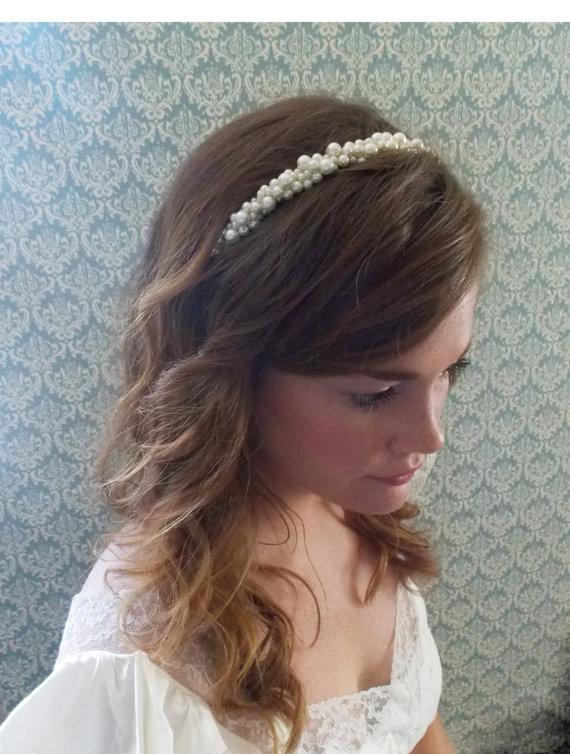 Bridal Headband Pearl Wedding Hairband Ivory Hair Accesory Chunky Head Band Piece Romantic