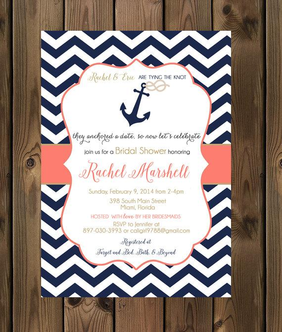 navy and coral wedding shower invitations nautical bridal shower invite anchor _81