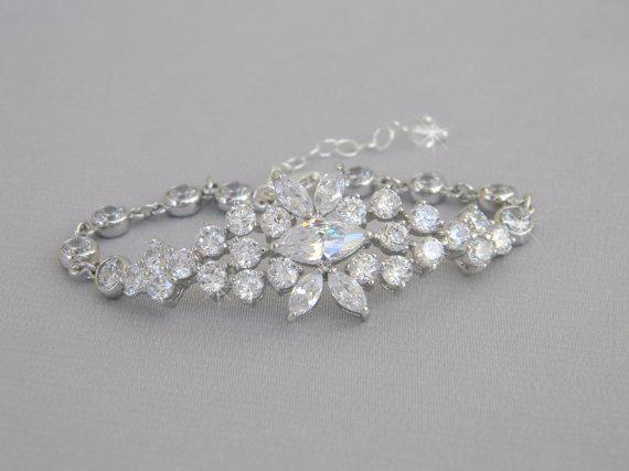 Mariage - Crystal Bridal Bracelet, Wedding Jewelry, Swarovski crystals pearls, Vintage delicate, Harper Bridal Bracelet
