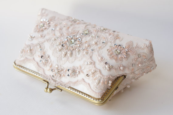 زفاف - Personalized romance wedding lace clutch in ice pink, summer wedding, Vintage inspired ,wedding bag, bridesmaid gifts, Bridal clutch