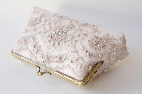 زفاف - Personalized romance wedding lace clutch in ice pink, summer wedding, Vintage inspired ,wedding bag, bridesmaid gifts, Bridal clutch
