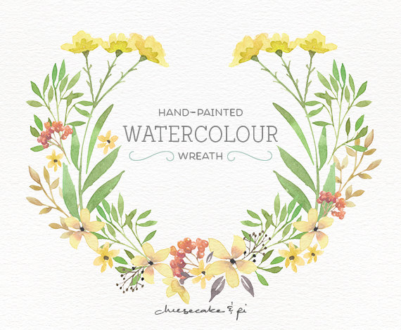 Watercolor Wreath: PNG Floral Clip Art / Flower Wreath / Wedding Invitation  Clip Art / Commercial Use / Yellow U0026 Green / CM0076g