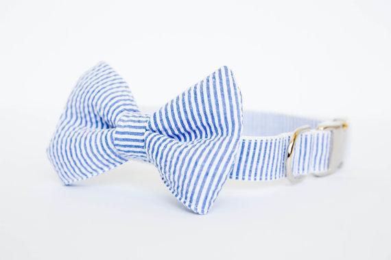 Свадьба - Seersucker Dog Bow Tie Collar (Bowtie) - Your choice of color
