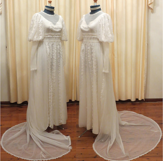Mariage - SALE Vintage White Tulle Cathedral Style Wedding Dress With Long Strain and Long Puffed Sleeves