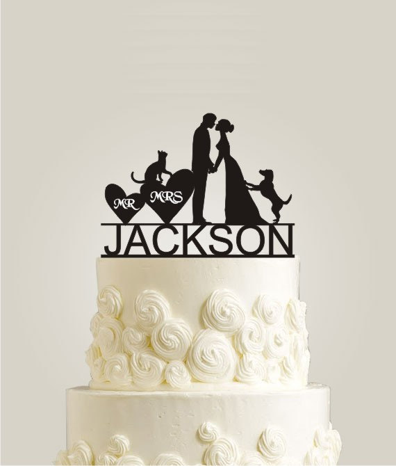 Personalized Wedding Cake Topper With Your Last Name Kissing Cat And Dog Decor