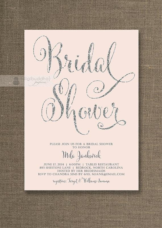 2cfe6ddaf41 Blush Pink   Silver Glitter Bridal Shower Invitation Pastel Pink Hens Party  Script Modern FREE PRIORITY SHIPPING or DiY Printable - Mila