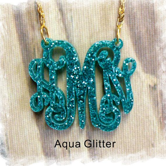 زفاف - Acrylic Monogram Necklace - Vine Monogram 3 Initial Name , Laser cut Acrylic monogram Jewelry - wedding gift