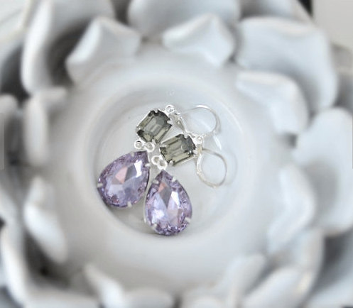 زفاف - Lavender Bridal Earrings