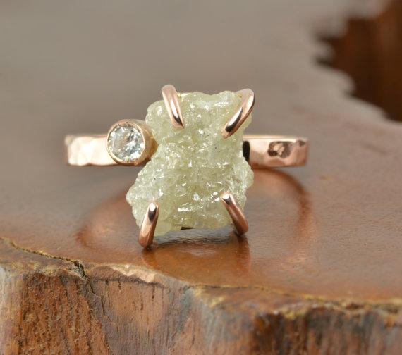 45 Carat Uncut Diamond 14k Rose Gold Engagement Ring 2348973