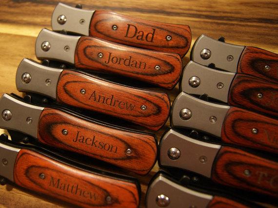 Engraved Knife 28 OFF SALE Personalized Groomsmen Gift Knives Usher Birthday Men Dad Custom Grandpa
