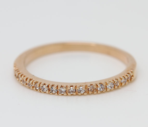 Hochzeit - 1.2mm wide 18ct Rose gold filled half Eternity finger ring with stunning simulated diamonds - wedding band - engagement ring