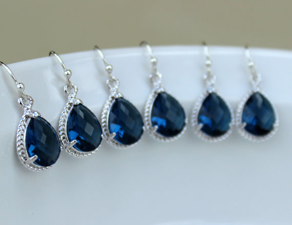 Mariage - 10% OFF SET OF 3 Wedding Jewelry Bridesmaid Earrings Bridesmaid Jewelry - Sapphire Earrings Silver Navy Blue Teardrop - Navy Bridal Earring