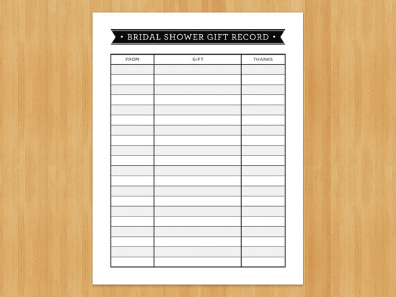 Printable bridal shower gift record list list of gifts for Wedding shower gift list template