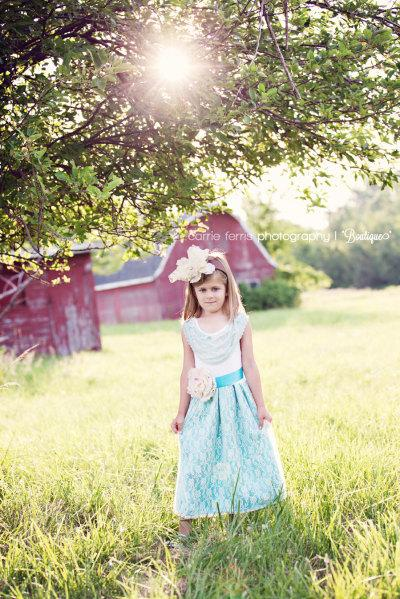 Mariage - Aqua Flower Girl Dress With Lace Collar