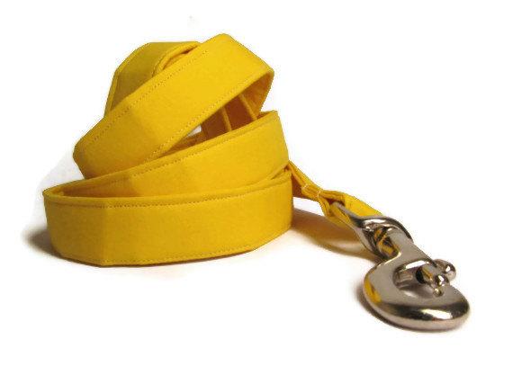 Свадьба - Sunny Yellow Designer Dog Leash - 4' 5' 6' - Cotton Dog Leash, wedding dog leash