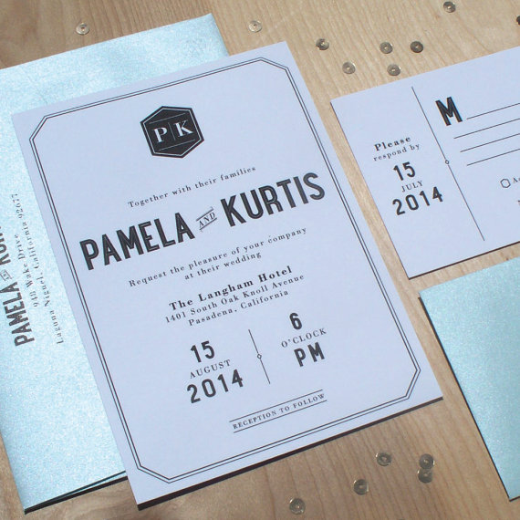 Retro Wedding Invitation Mid Century Modern Invitation Mod