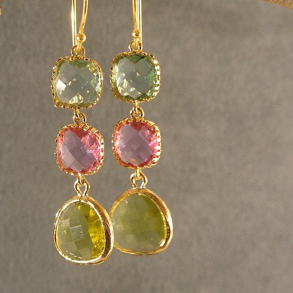 Mariage - Prasiolite, Lavender, and Apple Green Earrings, Bridesmaid Earrings, Gold Bridesmaid Earrings, Wedding Earrings (4624)
