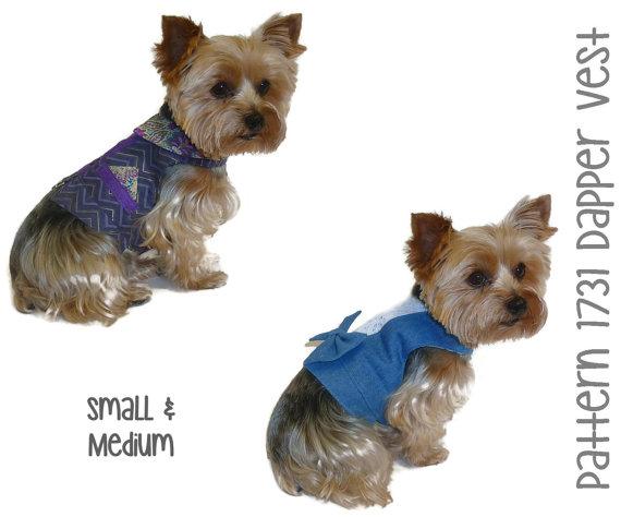 Свадьба - Dapper Dog Vest Pattern 1731 * Small & Medium * Dog Clothes Sewing Pattern * Dog Harness Vest * Dog Wedding Attire * Dog Vest Pattern