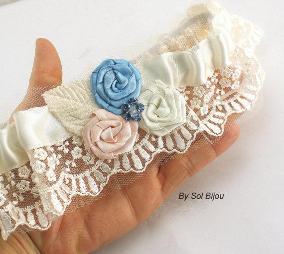 Свадьба - Garter, Wedding, Bridal, Belt, Toss, Ivory, Blue, Dusty Blue, Pink, Blush, Lace, Crystals, Something Blue, Vintage Wedding