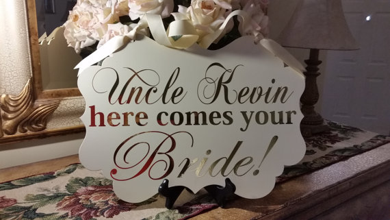 زفاف - Wedding Signs, SINGLE SIDED, Uncle here comes your Bride!