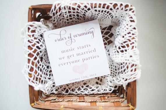 زفاف - Fun Wedding Program - Music Starts We Get Married Everyone Parties - Digital or Printed
