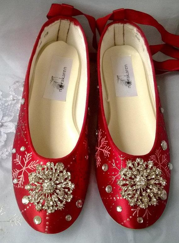 Hochzeit - Red snowflake ballerina flat, rhinestone ballerina flat  Shoe, Ballerina Bridal Shoe, Sale , red Christmas wedding
