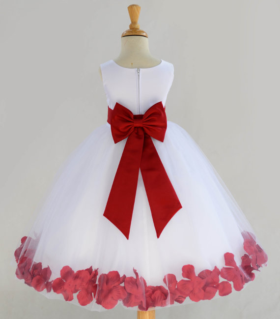 9f2ecd980 White Flower Girl Dress Bow Sash Pageant Petals Wedding Bridal ...
