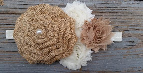 Boda - Burlap Headband-Ivory Headband-Shabby Chic Headband-Country Flower Girl Headband-Rustic Headband-Burlap Headband-Rustic Flower Girl