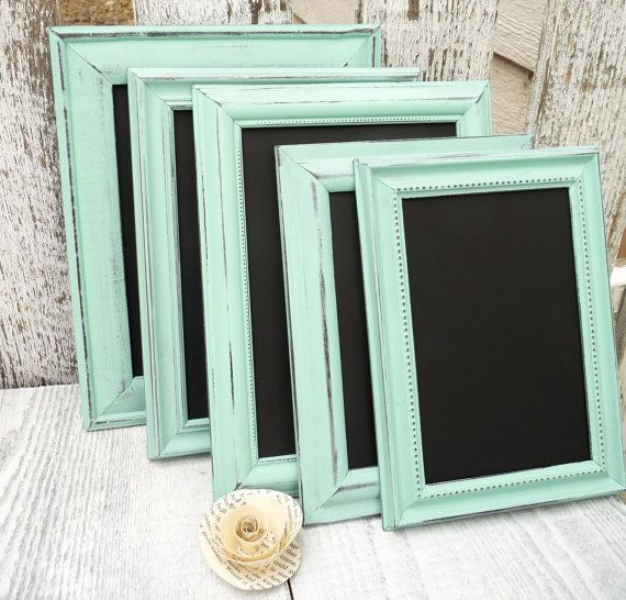 10 mint shabby chic wedding chalkboard frames table numbers up cycled picture frames - Mint Picture Frames