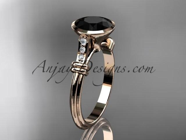 Wedding - 14k rose gold diamond wedding ring,engagement ring with Black Diamond center stone ADLR23