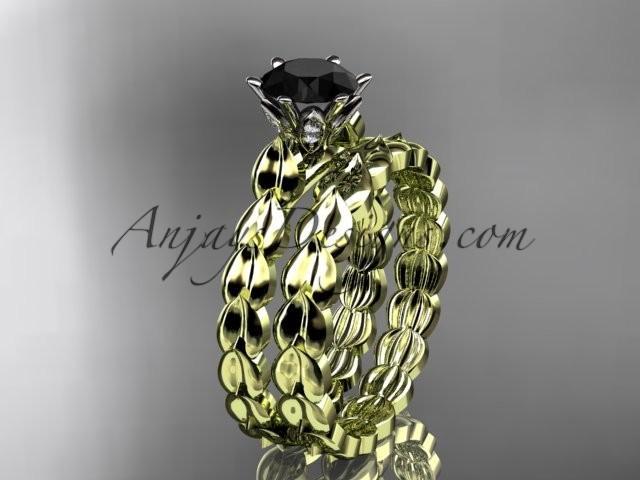 Wedding - 14k yellow gold diamond vine and leaf wedding ring, engagement set with a Black Diamond center stone ADLR35S