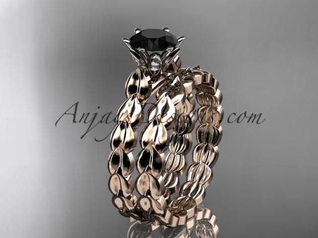 زفاف - 14k rose gold diamond vine and leaf wedding ring, engagement set with a Black Diamond center stone ADLR35S