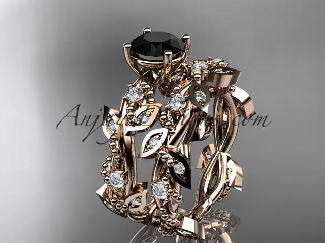 Wedding - 14k rose gold diamond leaf and vine wedding ring, engagement set with Black Diamond center stone ADLR59S