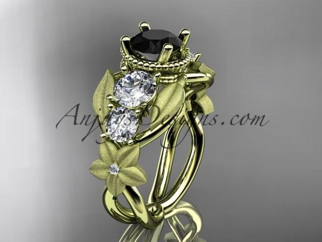 زفاف - 14kt yellow gold diamond floral, leaf and vine wedding ring, engagement ring with Black Diamond center stone ADLR69