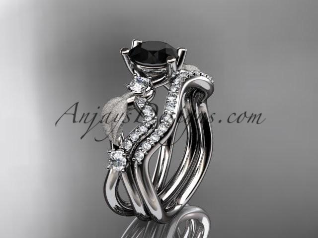 14kt White Gold Diamond Leaf And Vine Wedding Ring Engagement Set