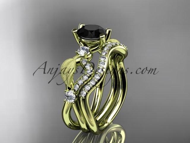 Wedding - 14kt yellow gold diamond leaf and vine wedding ring, engagement set with Black Diamond center stone ADLR68S