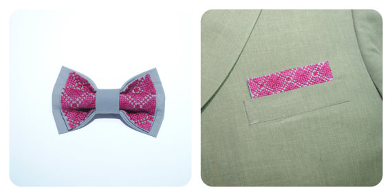 Wedding - Gray EMBROIDERED bow tie and matching pocket square Purple Burgundy Vinous Pre tied bow tie Pre folded pocket squares Men Boys Groom Wedding