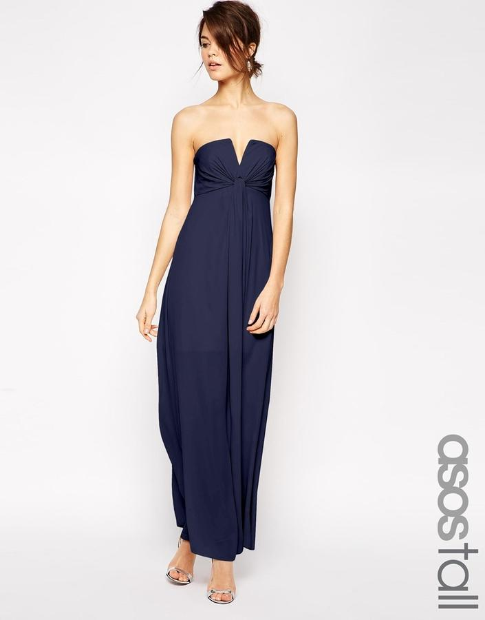 d10f34501021 ASOS TALL WEDDING Soft Notch Bandeau Maxi Dress #2349486 - Weddbook