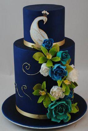 Peacock Wedding Cake.Wedding Theme Indian Wedding Cake Rich Navy Peacock