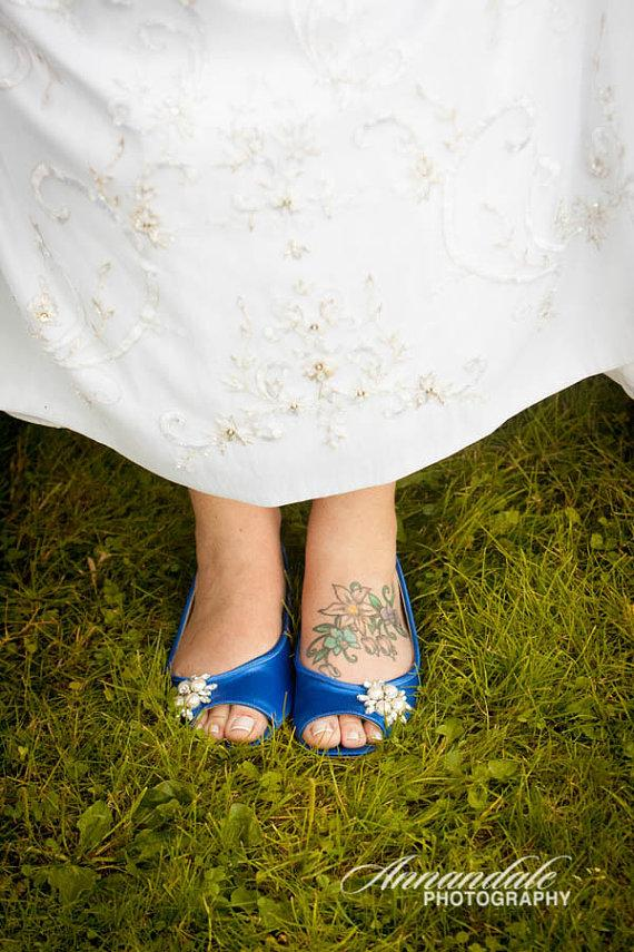 Свадьба - Wedding Shoes - Flat Wedding Shoes - Flats - Pearl And Crystal - Blue Shoes - Choose Over 100 Colors - Shoes - Comfortable Shoes - Parisxox