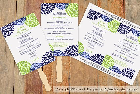 Hochzeit - DiY Wedding Fan Program Template - DOWNLOAD Instantly - EDITABLE TEXT - Chrysanthemum (Navy Blue & Lime) 5 x 7 - Microsoft® Word Format