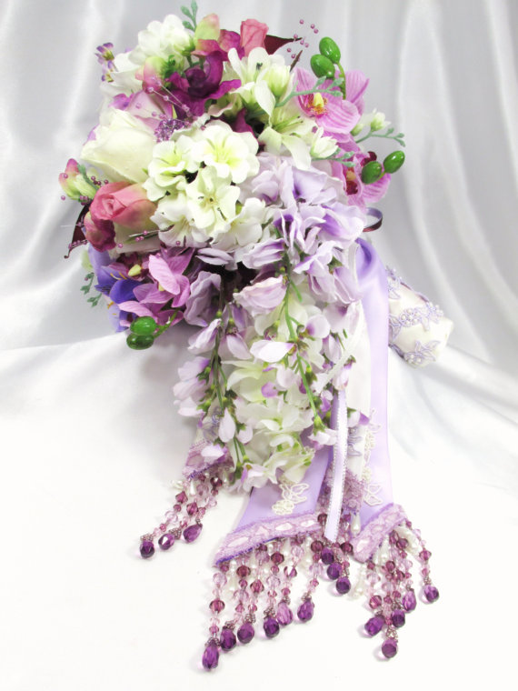 زفاف - Radiant Orchid Victorian Cascading Bridal Bouquet with beaded fringe & trims in purples, lavender, burgundy plum and ivory - READY TO SHIP