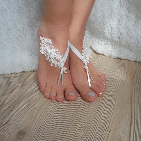 زفاف - bridal anklet, white Beach wedding barefoot sandals, bangle, wedding anklet, free ship, anklet, bridal, wedding
