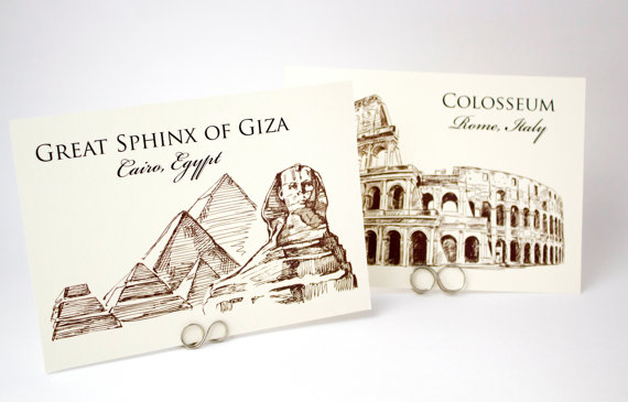 Wedding - Wedding Table Cards - Famous Landmarks of the World Travel Theme Table Number Cards