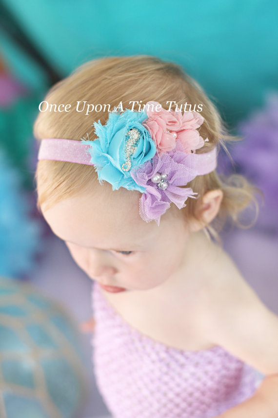 Mariage - Aqua Blue Pink Lavender Seahorse Headband - Newborn Baby Beach Hairbow - Little Girls Hair Bow - Mermaid Costume Hair Piece Accessory