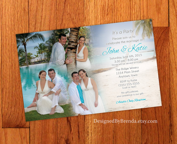 Wedding - Blended Photo Collage Wedding Invitation - Large size, perfect for destination wedding or reception only invite - Fun & Unique - Custom